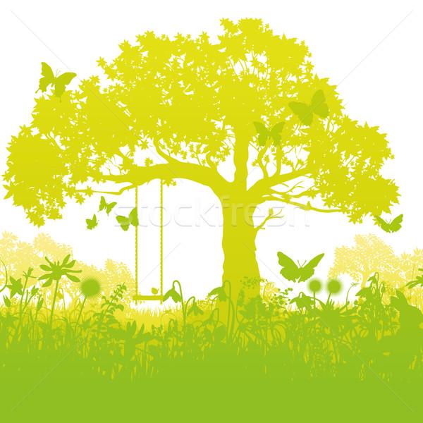 Salıncak ağaç bahçe bahar çocuklar orman Stok fotoğraf © Ustofre9