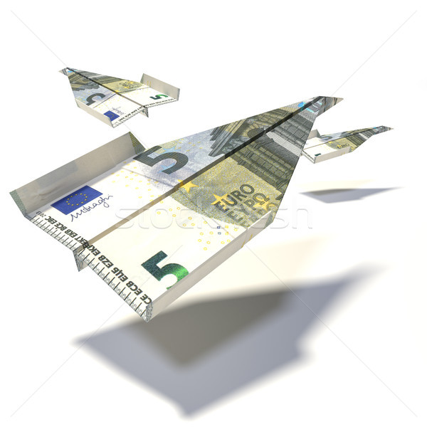 Paper flyer made of a 5 euro note Stock photo © Ustofre9