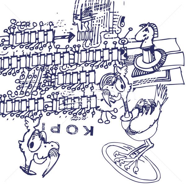 Toll rajz klón bélyeg iskola madár Stock fotó © Ustofre9