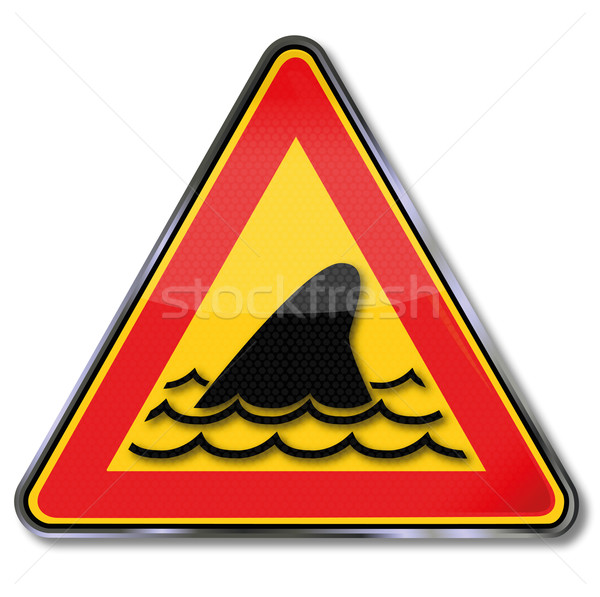 Sign with shark fin and underwater attack  Stock photo © Ustofre9