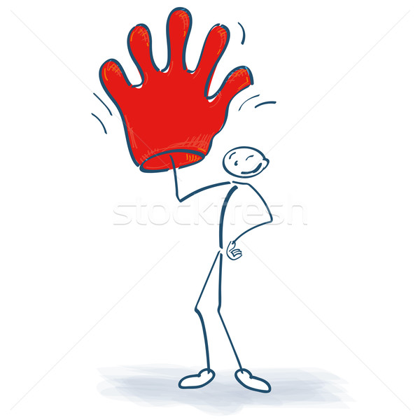 Stick figure большой красный перчатка стороны успех Сток-фото © Ustofre9