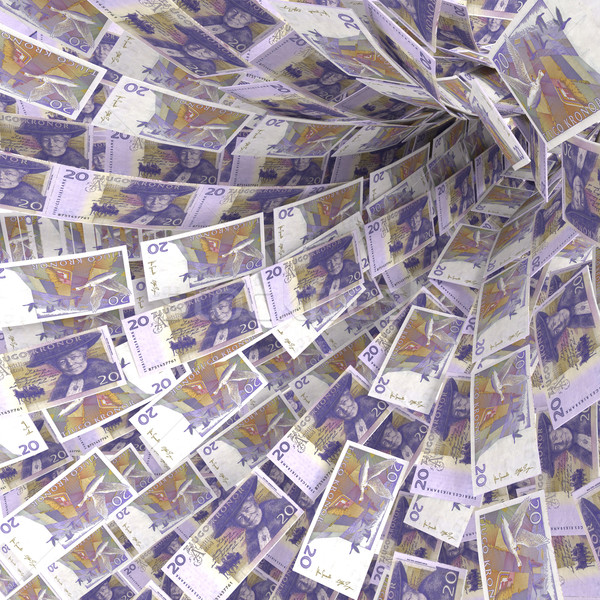 Money vortex of 20 Swedish kronor bills Stock photo © Ustofre9