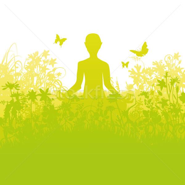 Meditating in dense grass Stock photo © Ustofre9