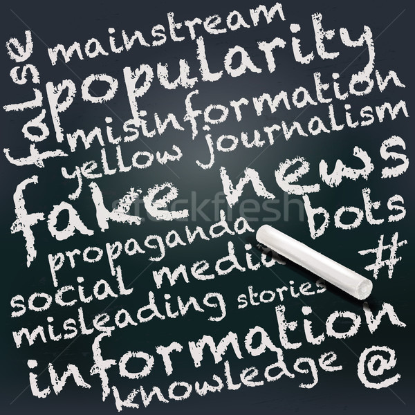 Blackboard and chalk with fake news Stock photo © Ustofre9