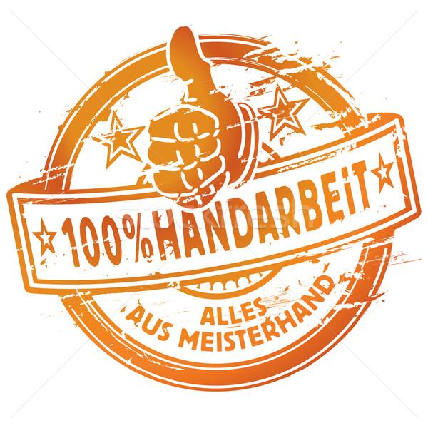 Foto stock: 100 · hecho · a · mano · trabajo · compras · signo