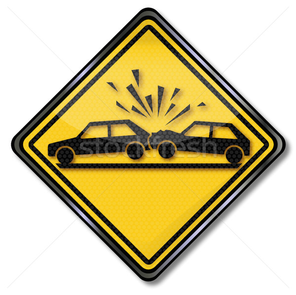 Stock photo: Road Sign warning car collision