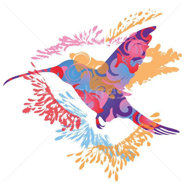 飛行 ハチドリ 自然 鳥 携帯 シルエット ストックフォト © Ustofre9