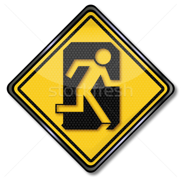 Sign man flees through a door escape route Stock photo © Ustofre9