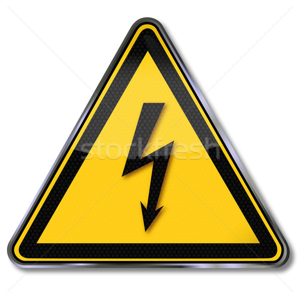 Danger sign warning of dangerous electrical voltage  Stock photo © Ustofre9