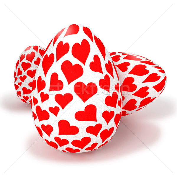 Painted eggs with little hearts Stock photo © Ustofre9