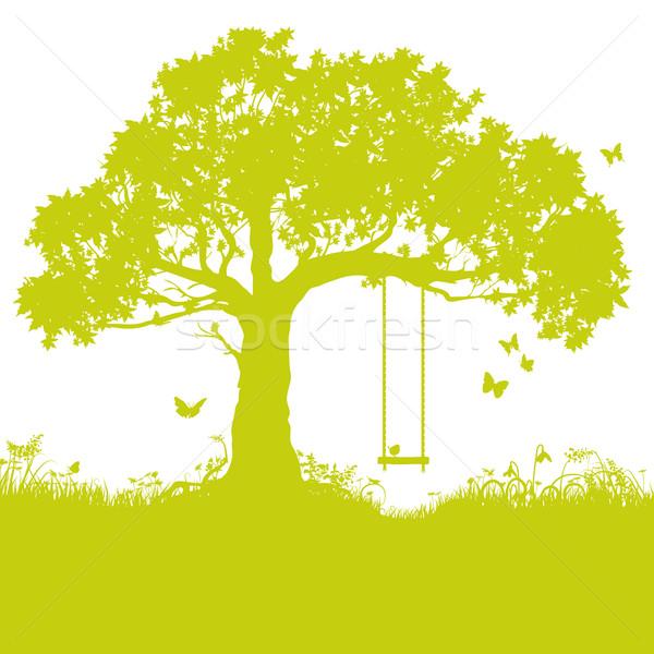 Swing albero infanzia ricordo primavera bambini Foto d'archivio © Ustofre9