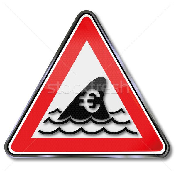 Sign with shark fin and underwater attack for the euro Stock photo © Ustofre9