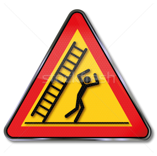 Danger sign warning falling ladder and fall on the head Stock photo © Ustofre9