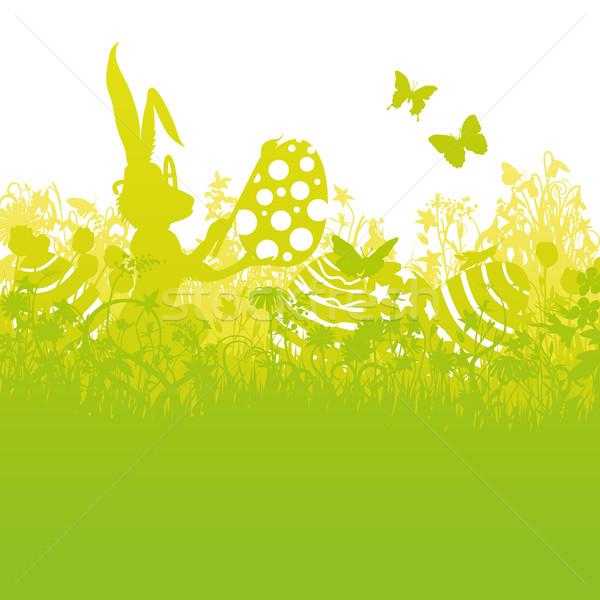 Húsvéti nyuszi festmény három húsvéti tojások húsvét virágok Stock fotó © Ustofre9