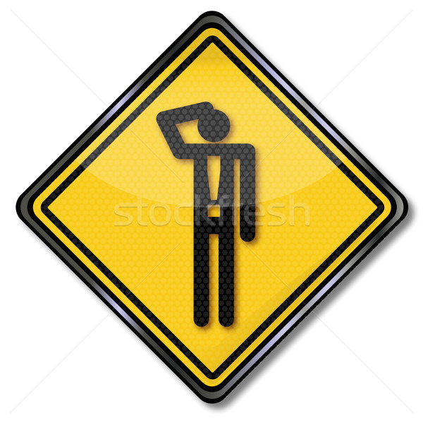 Sign with man and exclamation mark Stock photo © Ustofre9