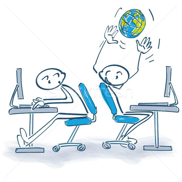 Stick figure światowy pracy biurowej działalności komputera świecie Zdjęcia stock © Ustofre9