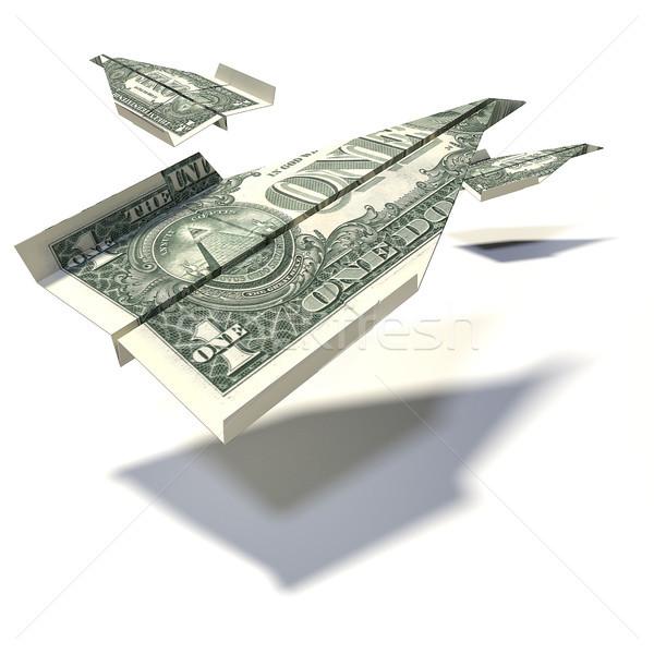 Papier Flugzeug ein Dollar Rechnung Geld Stock foto © Ustofre9