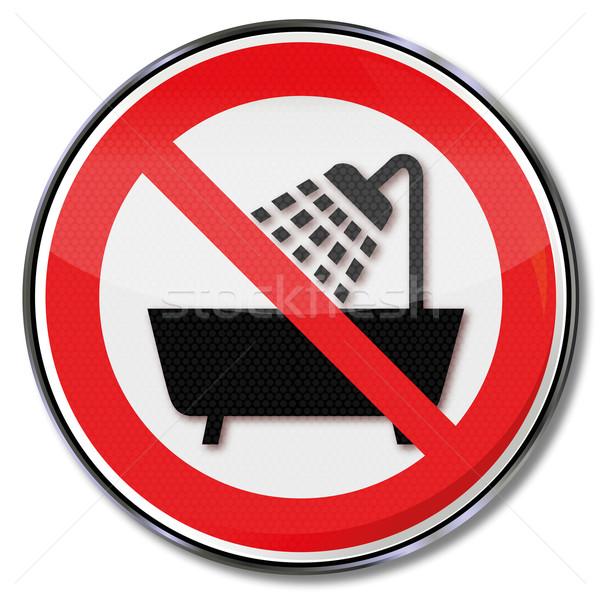 Prohibition sign please no showers, washing and bathing Stock photo © Ustofre9