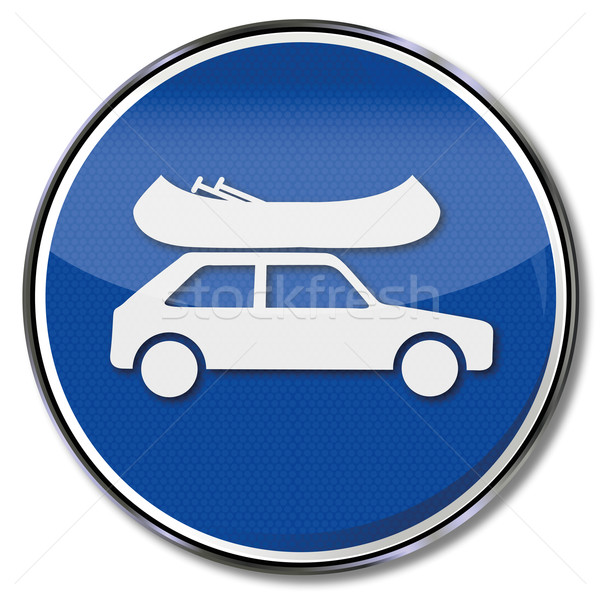 Traffic sign car with canoe safely stowed on the roof Stock photo © Ustofre9