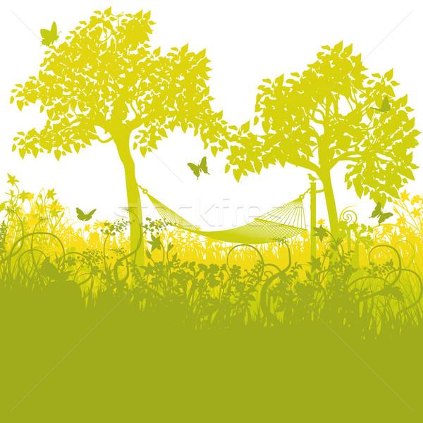 Függőágy kettő fák kert virágok fű Stock fotó © Ustofre9