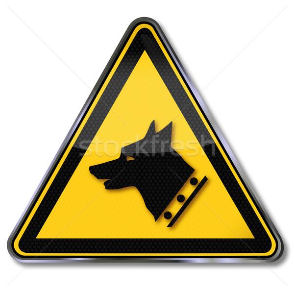 Signe de danger avertissement chien de garde droit lock signes Photo stock © Ustofre9