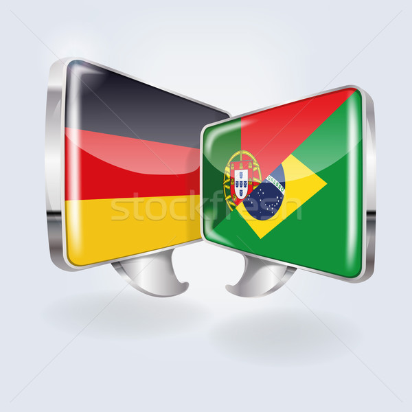 Bubbles and speech in German, Portuguese and Brazilian  Stock photo © Ustofre9