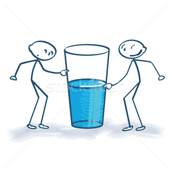 Stick figure with the glass is half full or half empty  Stock photo © Ustofre9