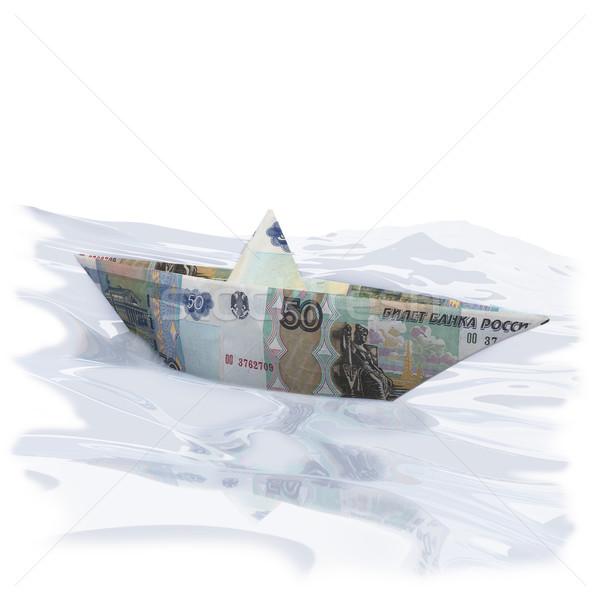 Papier boot 50 reizen schip financieren Stockfoto © Ustofre9