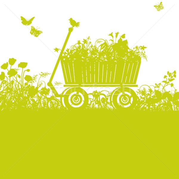 Handcart in overgrown garden Stock photo © Ustofre9