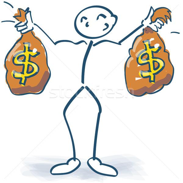 Pálcikaember pénz szatyrok dollár vásárlás bank Stock fotó © Ustofre9