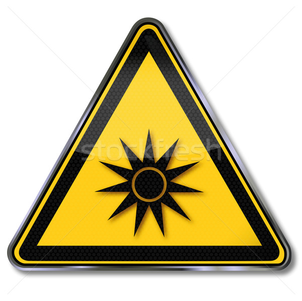 Stock photo: Danger sign danger eye injury by laser