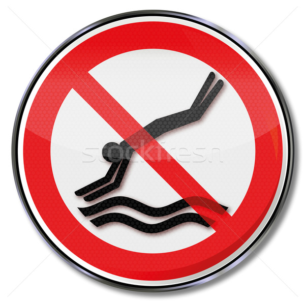 Prohibition sign please do not jump into the water Stock photo © Ustofre9