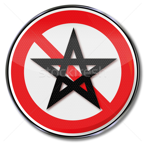 Stock photo: Prohibition sign five-pointed star and pentagram