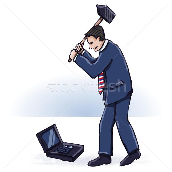 Geschäftsmann Gewalt Hammer Büro Mann Arbeit Stock foto © Ustofre9