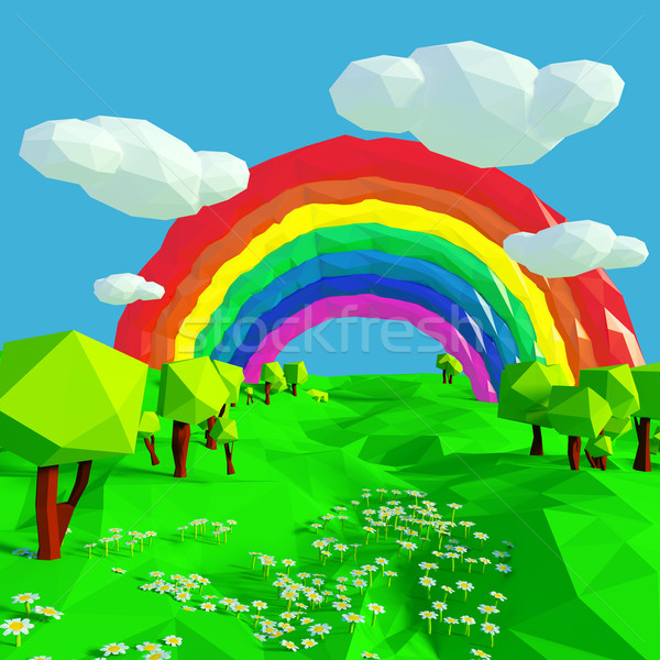 Small landscape with rainbow Stock photo © Ustofre9