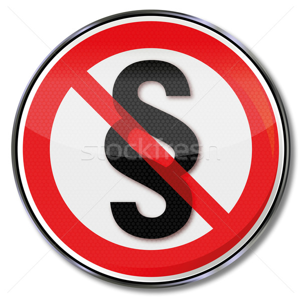 Prohibition sign with paragraph and crumbling right Stock photo © Ustofre9