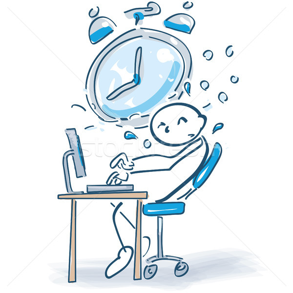 Stick figure at a computer and time pressure Stock photo © Ustofre9