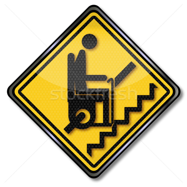 Stock photo: Sign stairlift for pensioners