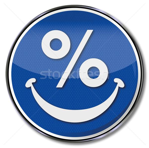 Procent teken lachend gezicht business glimlach gezicht Stockfoto © Ustofre9