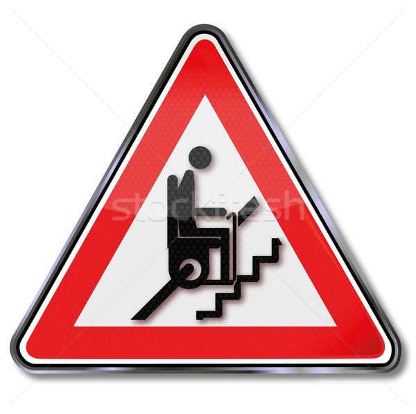 Sign attention stair lift for pensioners  Stock photo © Ustofre9
