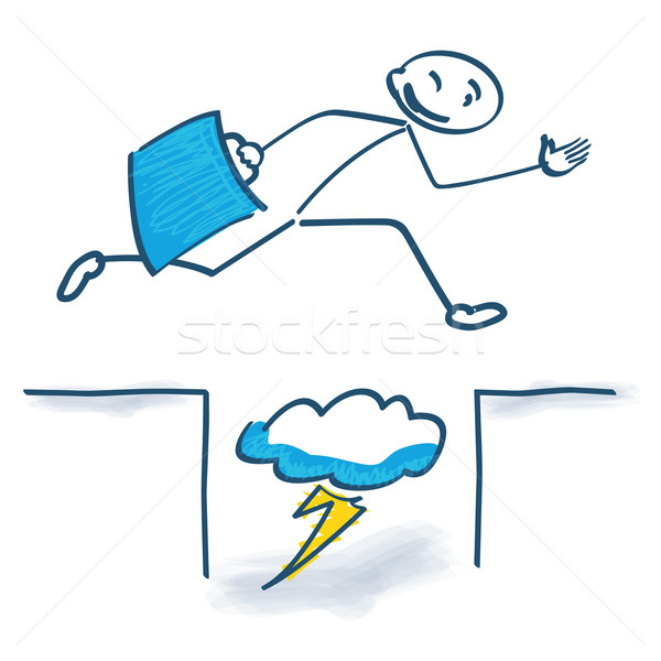 Stick figure with with jump over  problems and problem solving  Stock photo © Ustofre9
