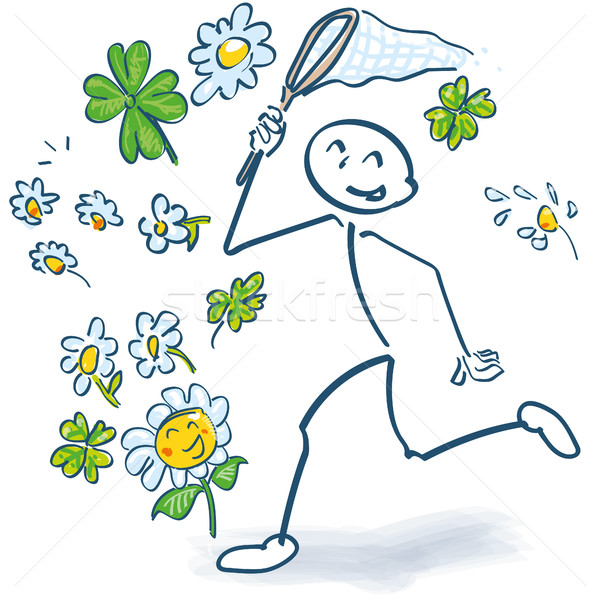 Stick figure with a beaker at the flowers catch Stock photo © Ustofre9