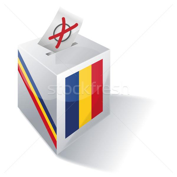 Oylama kutu Romanya çapraz bayrak Avrupa Stok fotoğraf © Ustofre9