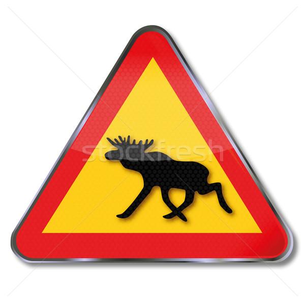 Verkeersbord voorzichtigheid eland teken verkeer borden Stockfoto © Ustofre9