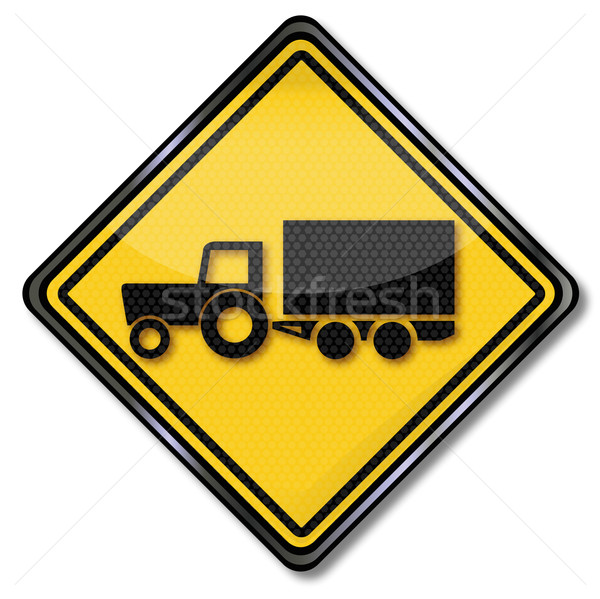Sign with tractor with trailer at the harvest Stock photo © Ustofre9