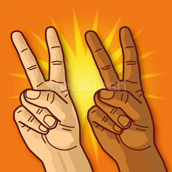 Two hands showing victory sign Stock photo © Ustofre9