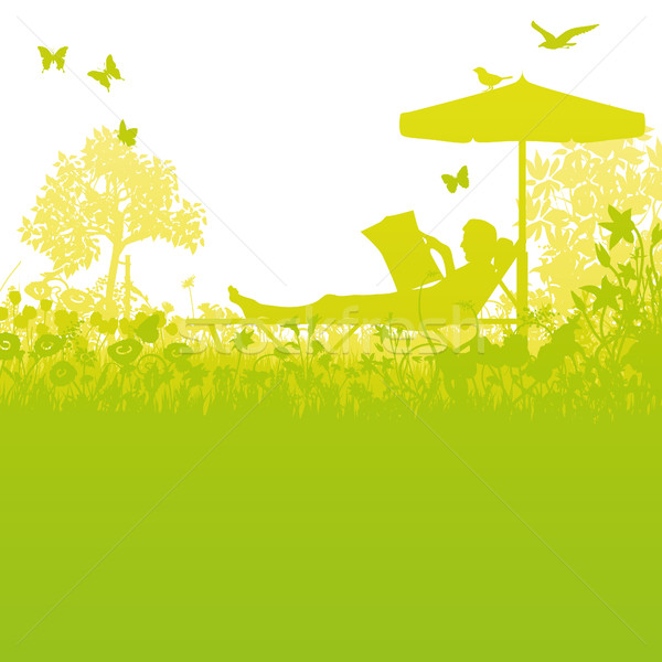 Garden lawn and recreation in the garden under the umbrella Stock photo © Ustofre9
