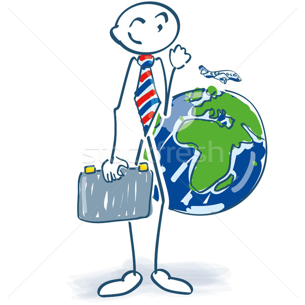 Stick figure as a businessman with suitcase and world trip Stock photo © Ustofre9