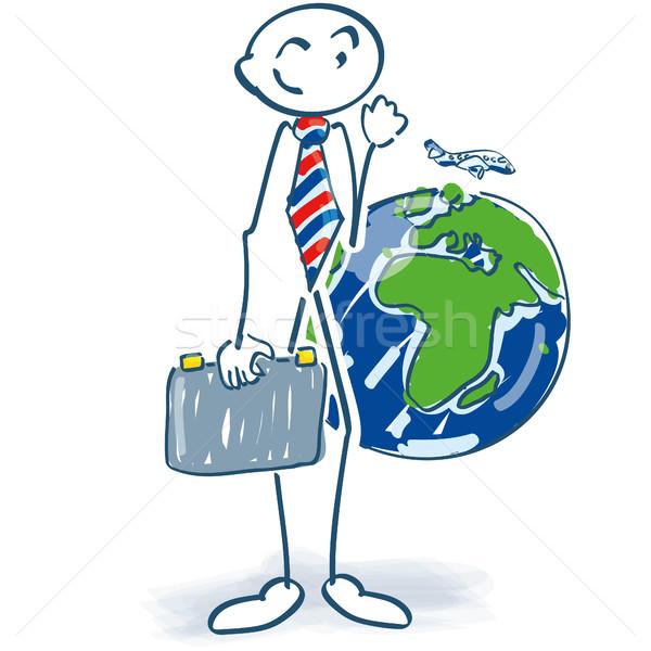 Pálcikaember üzletember bőrönd világ utazás üzlet Stock fotó © Ustofre9