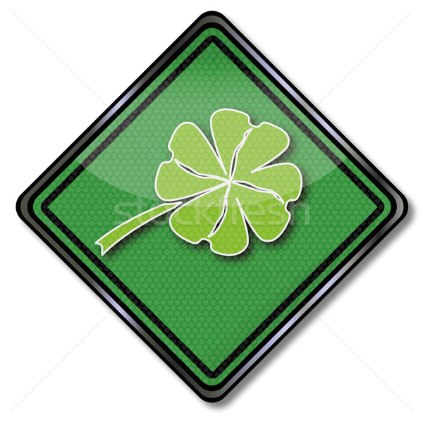 Green shield with shamrock and happiness Stock photo © Ustofre9